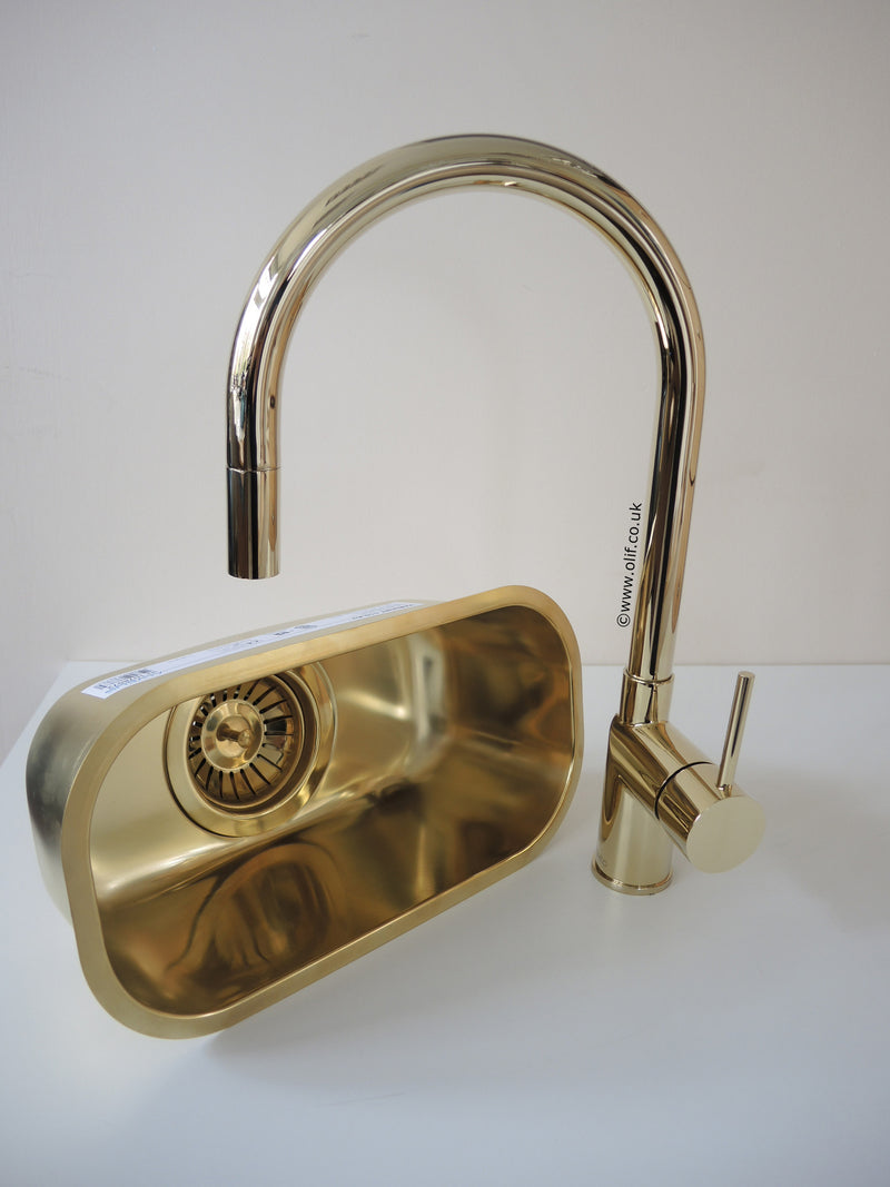 Nivito EX 360 Brass/Gold, pull-out kitchen mixer tap
