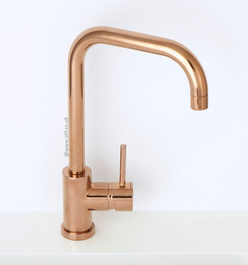 Alveus Delfino Copper, kitchen mixer tap, Monarch collection