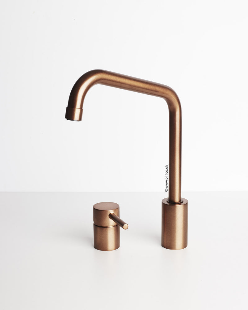 Duetto Brushed Copper, kitchen mixer tap