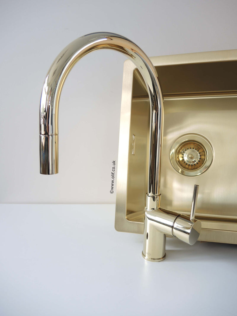 Gold /Brass pull-out kitchen mixer tap, stainless steel, UK | Nivito ...