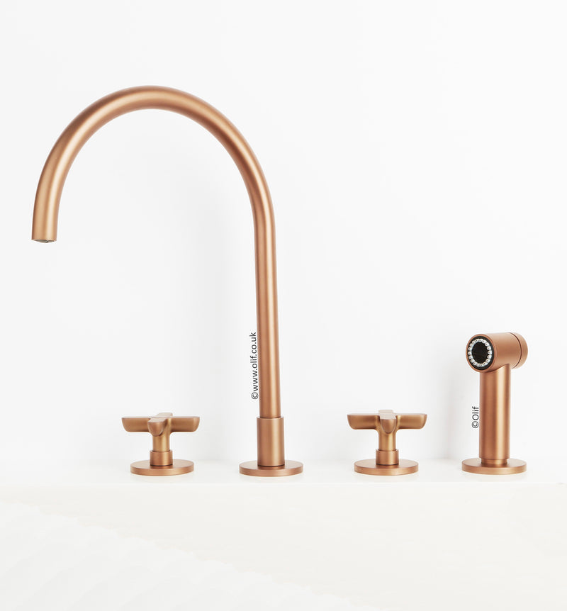 Icona Classic Matte Copper, kitchen mixer tap with pull out rinser