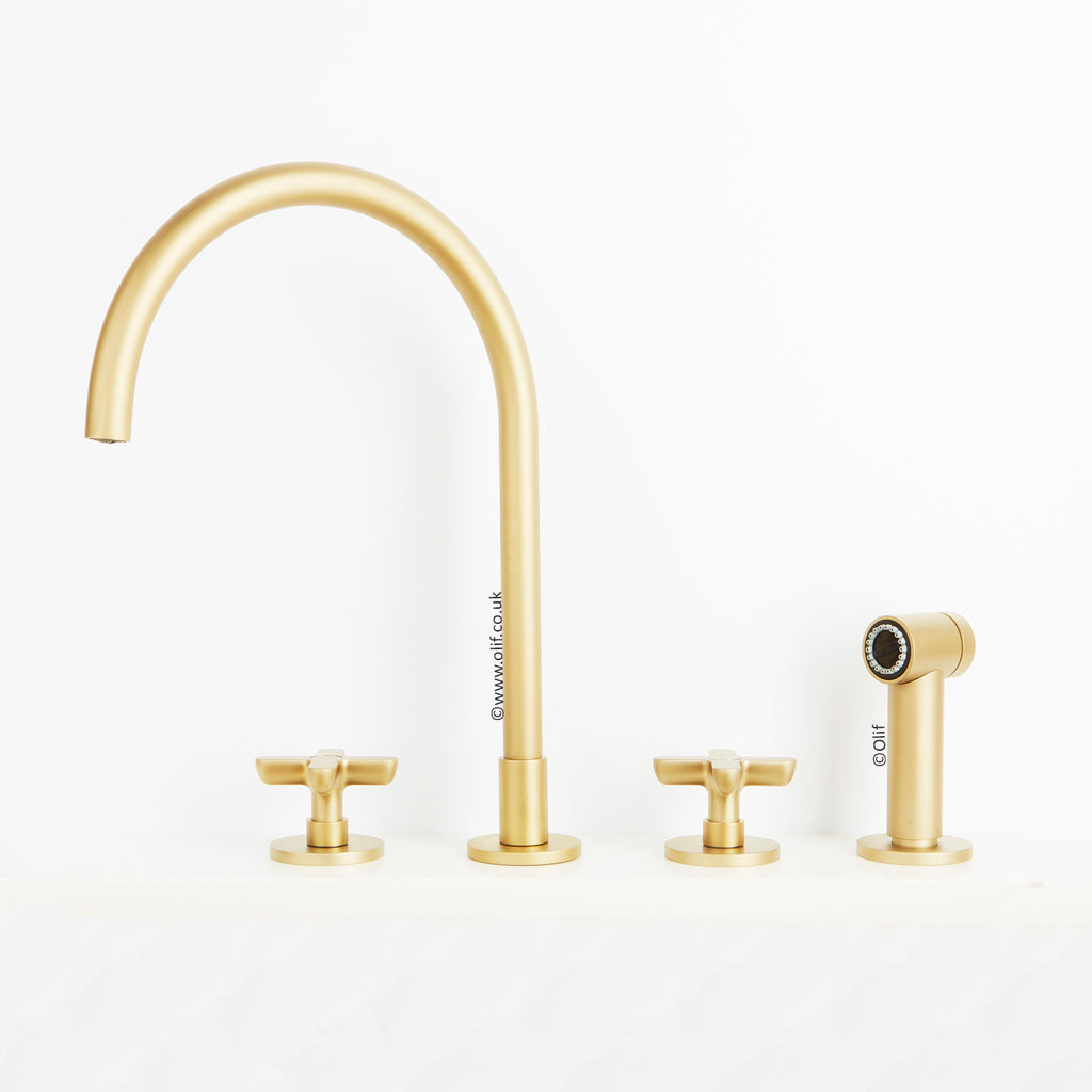 Icona Classic Matte British Gold, kitchen mixer tap with pull out hand-spray