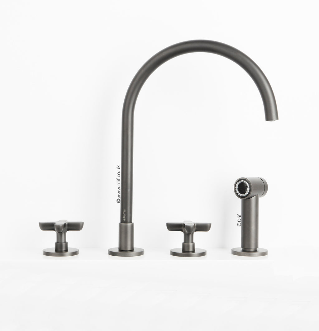 Fantini Icona Classic Gunmetal, kitchen mixer tap with handshower