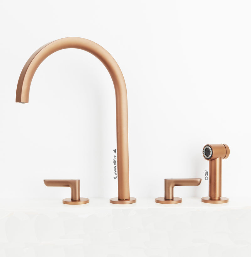 Fantini Icona Deco Matte Copper, kitchen mixer tap with hand-shower