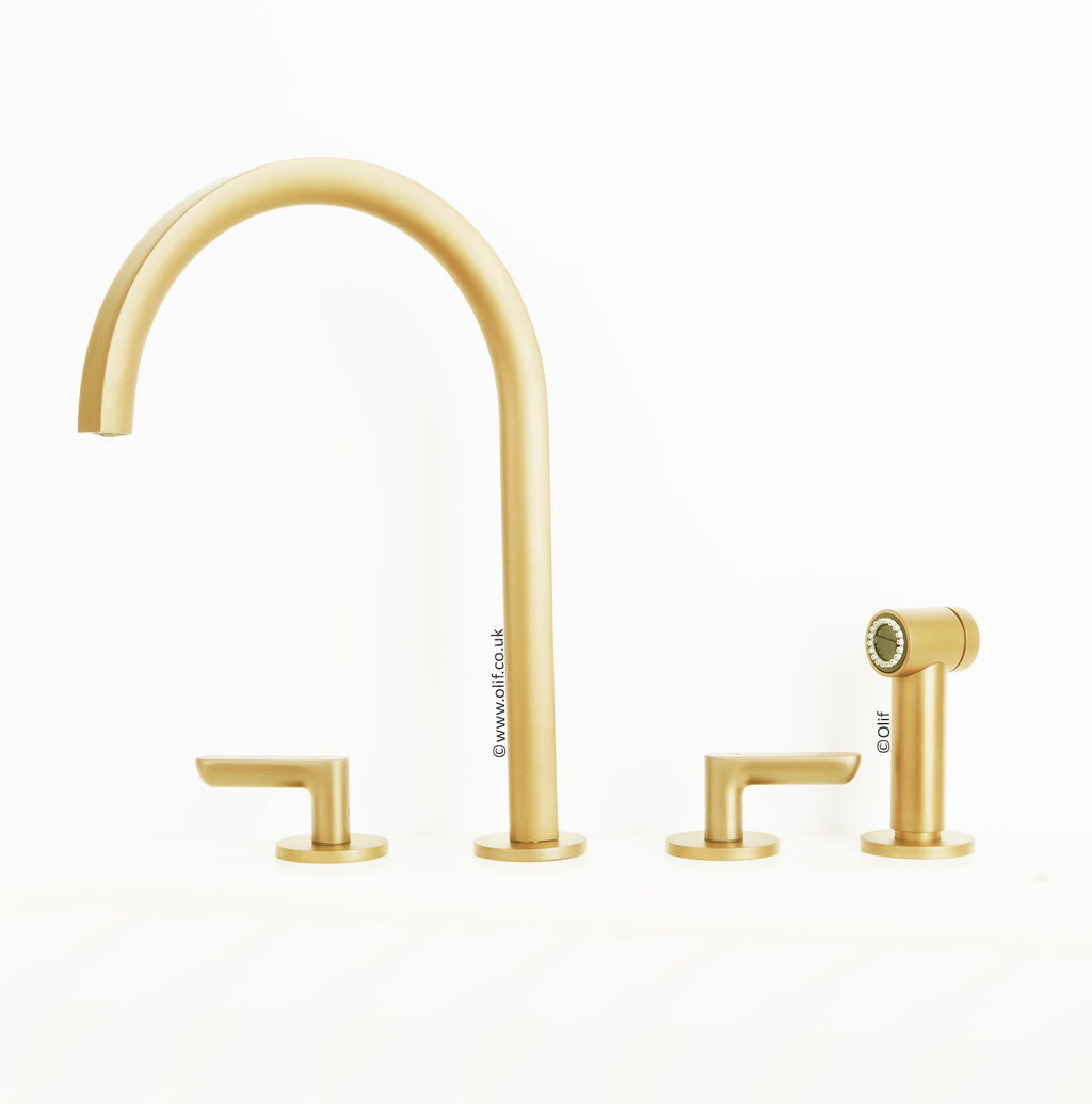 Icona Deco Matte British Gold, kitchen mixer tap with pull out hand-shower