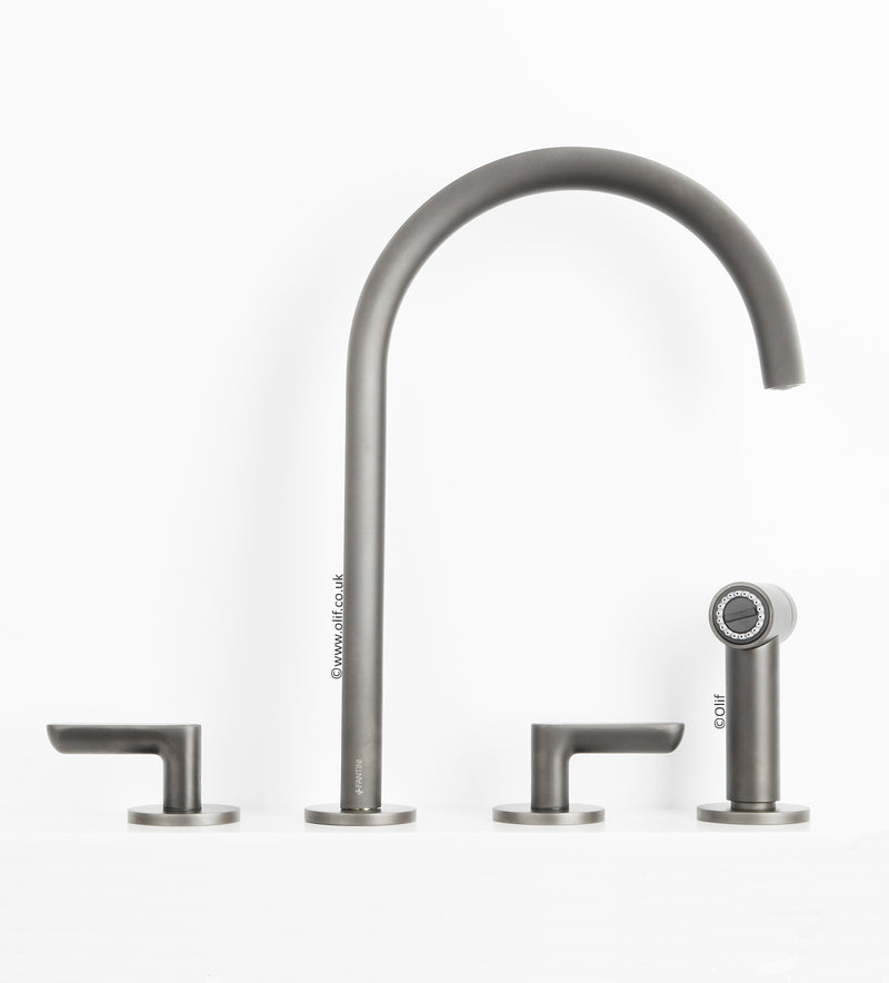 Fantini Icona Deco Matte Gunmetal, kitchen mixer tap with handshower