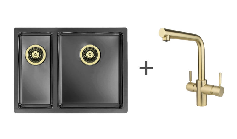 Pack of Hot Water Tap & Sink - InSinkErator 3n1 Gold+Alveus Monarch Gold