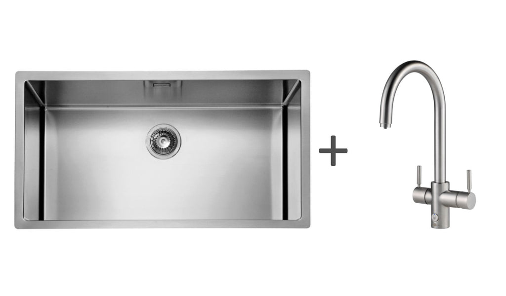 Pack of InSinkErator 4n1 Touch J tap & Alveus kitchen sink, Brushed Steel finish