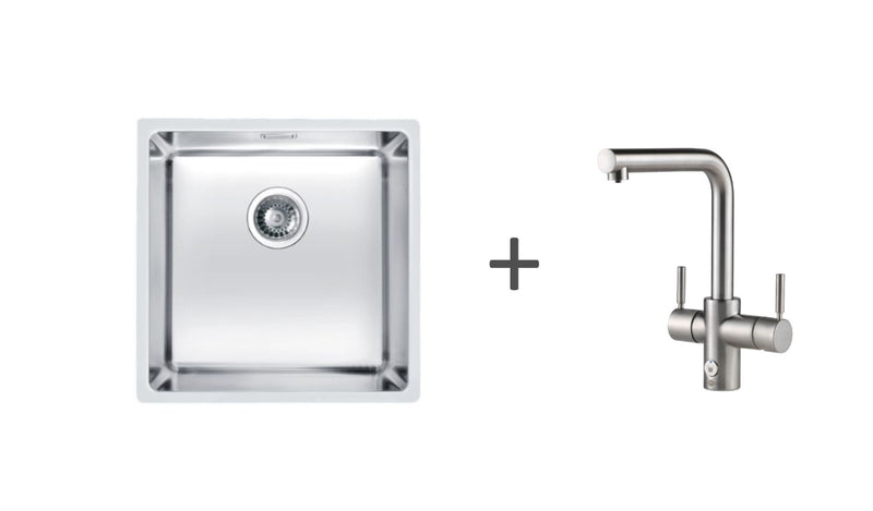 Pack of InSinkErator 4n1 Touch L tap & Alveus kitchen sink, Brushed Steel finish
