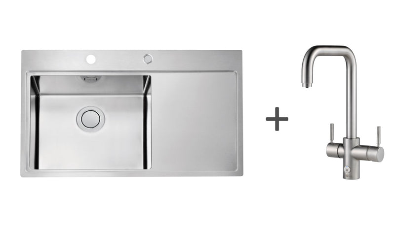 Pack of InSinkErator 4n1 Touch U tap & Alveus kitchen sink, Brushed Steel finish