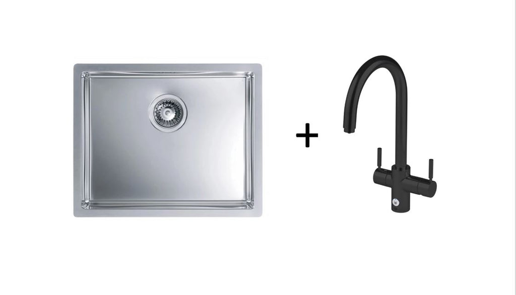 Pack of InSinkErator 4in1 Touch Black Velvet Tap & Alveus Kitchen Sink, Brushed Steel Finish