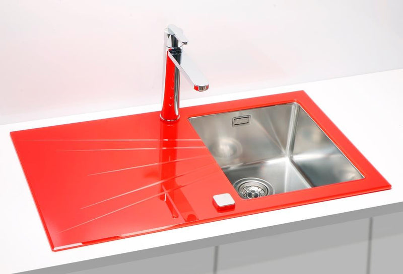 Alveus Karat 10, inset sink, glass/ stainless steel, square