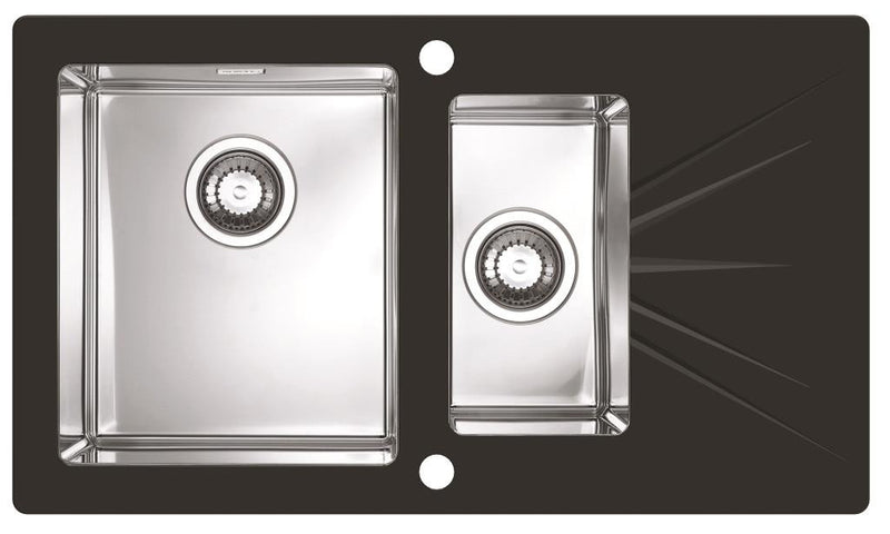 Alveus Karat 20, inset sink, glass/ stainless steel, square