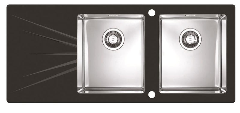 Alveus Karat 30, inset sink, glass/ stainless steel, square