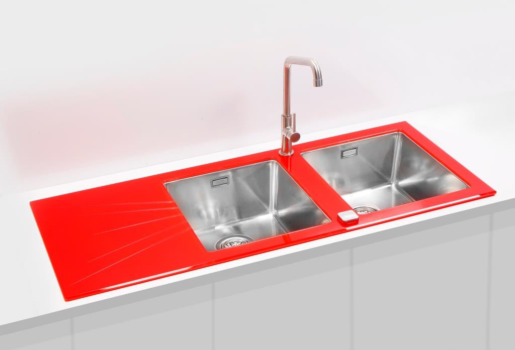 Glass kitchen sink, red, violet, bespoke colour/design, yellow ...