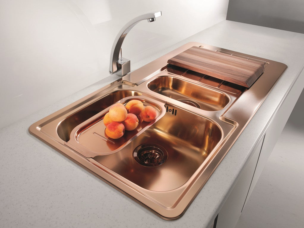 Alveus monarch line 10 copper inset sink for Coloured sinks kitchens