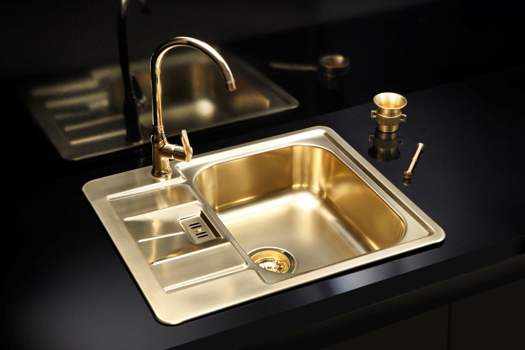 alveus monarch line 60 gold inset sink - Kitchen Sinks Uk