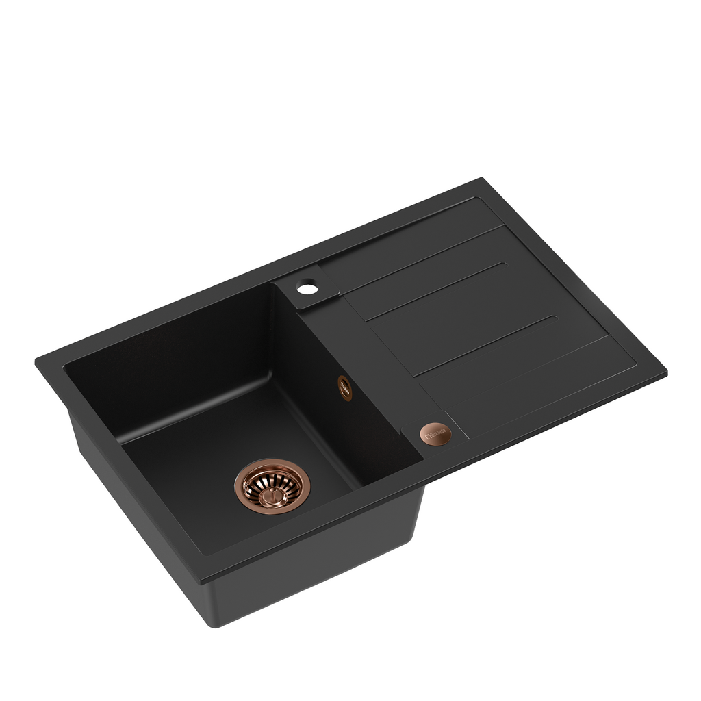 Quadron Morgan 111 Pure Black topmount sink, Mix and Match