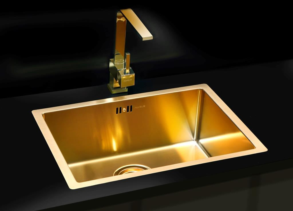 Undermount Kitchen Sink In Stainless Steel Material Brass Finish