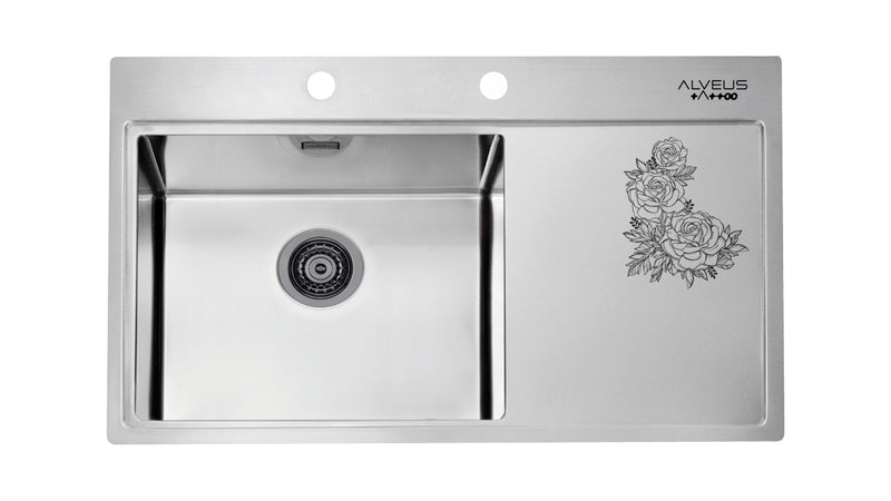 Alveus Pure 50 Tattoo Monarch, flush or flatmount kitchen sink