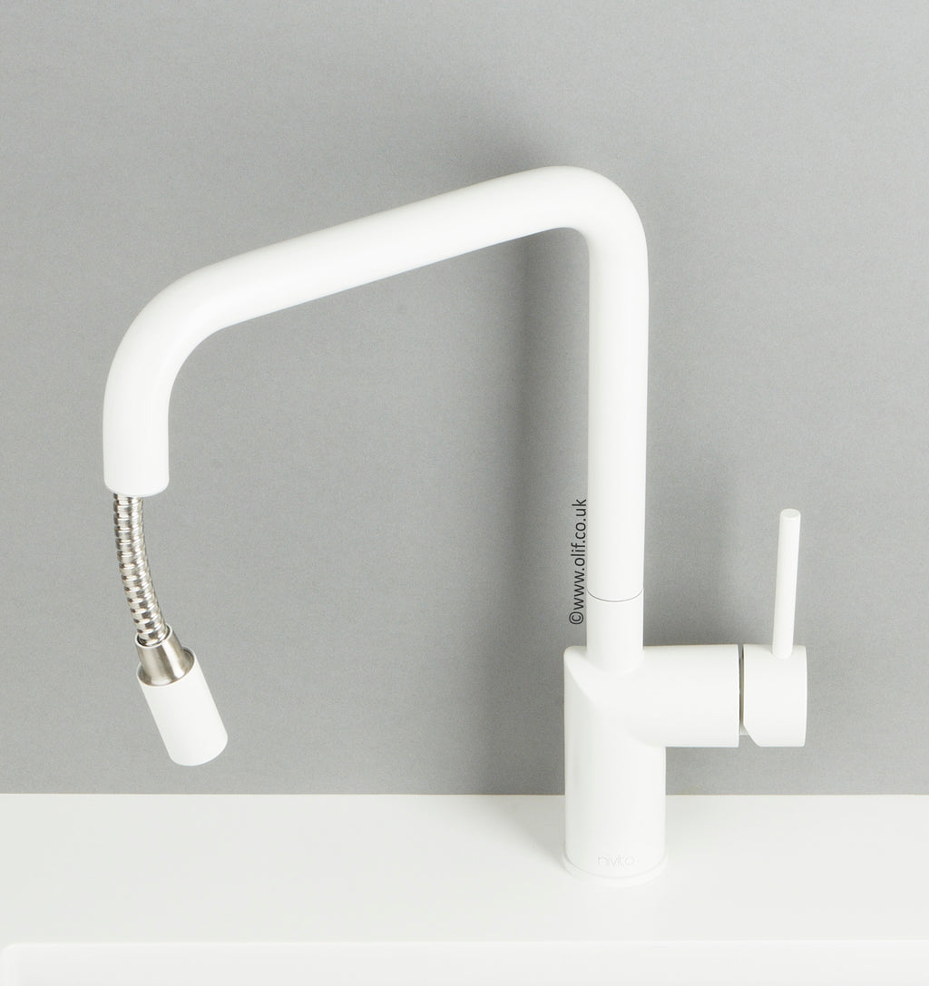 Nivito RH-330-EX Matte White, pull-out kitchen mixer tap