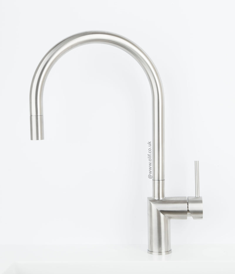 Nivito RH-100 Brushed Steel, kitchen mixer tap