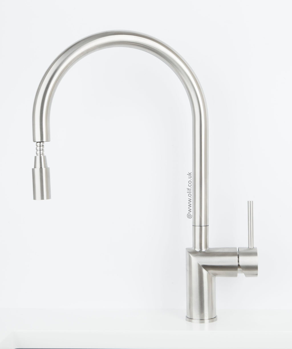 Nivito RH-100-EX Brushed Steel, pull-out kitchen mixer tap