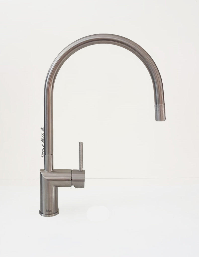 Nivito RH-100 INDUSTRIAL Brushed Steel, kitchen mixer tap