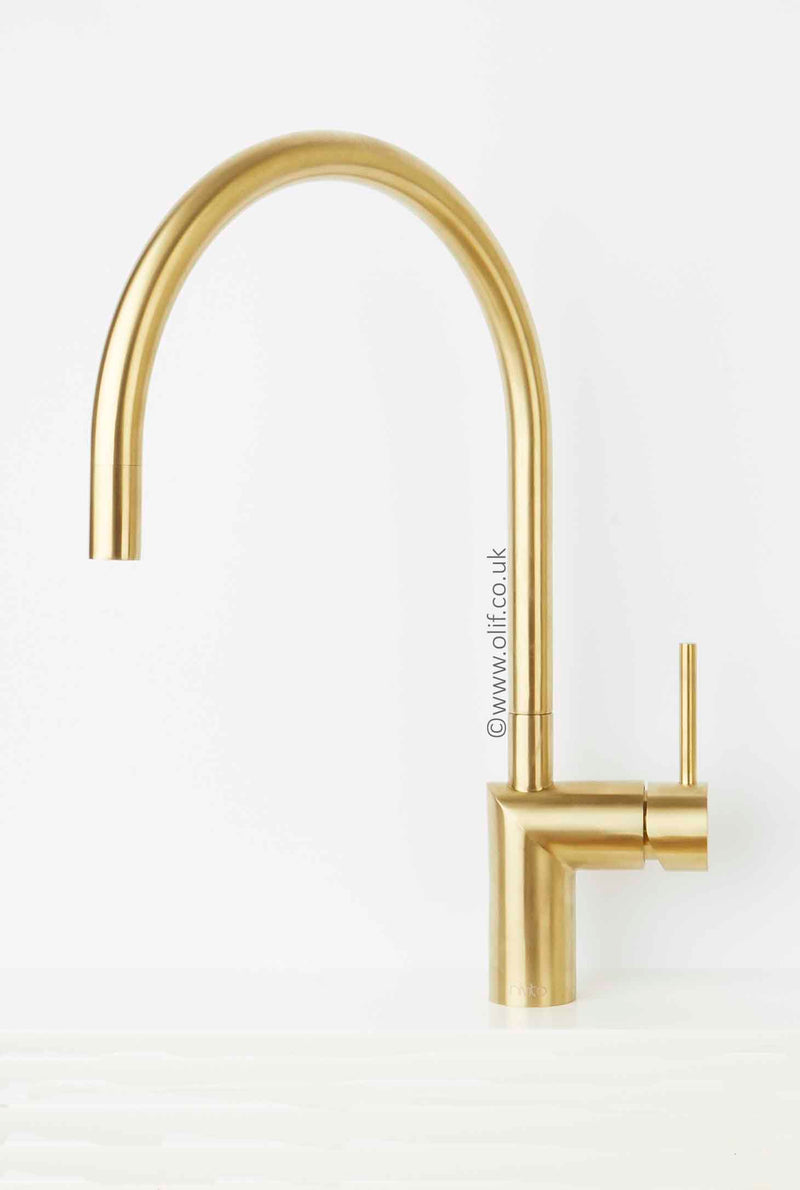 Nivito RH 140 Brushed Brass/Gold, kitchen mixer tap