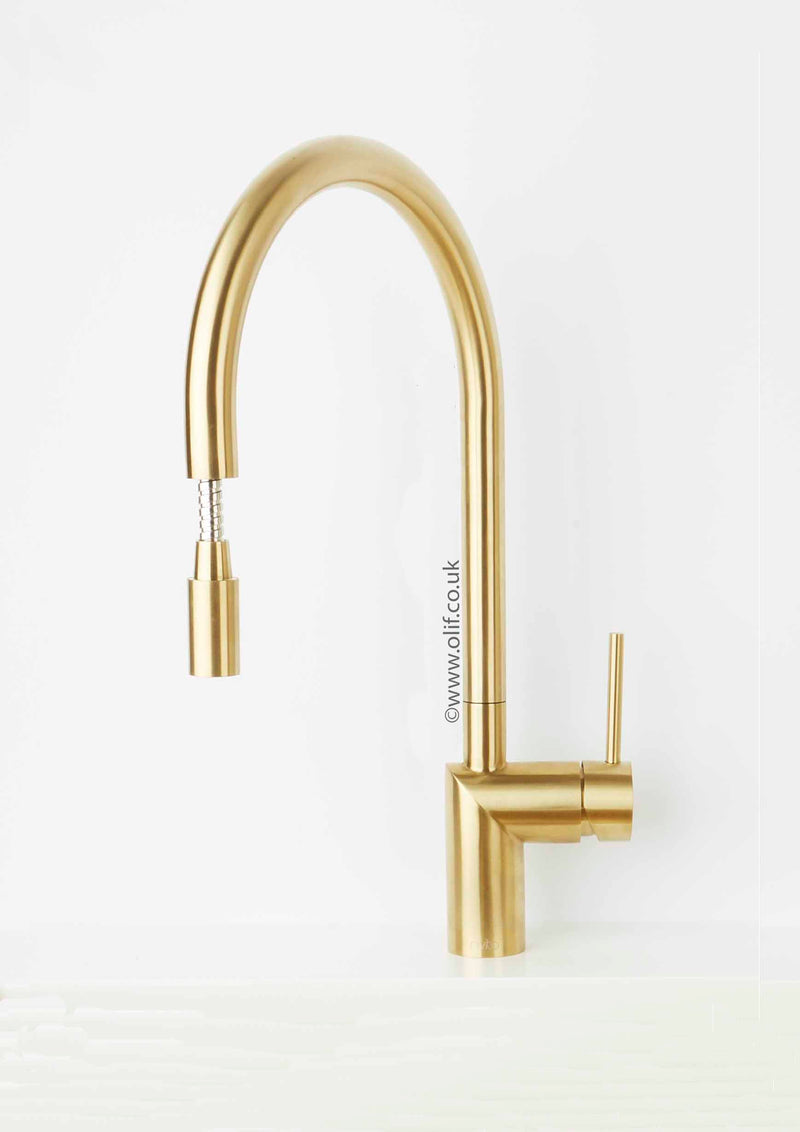 Brushed Gold Brass Pull Out Kitchen Mixer Tap Stainless