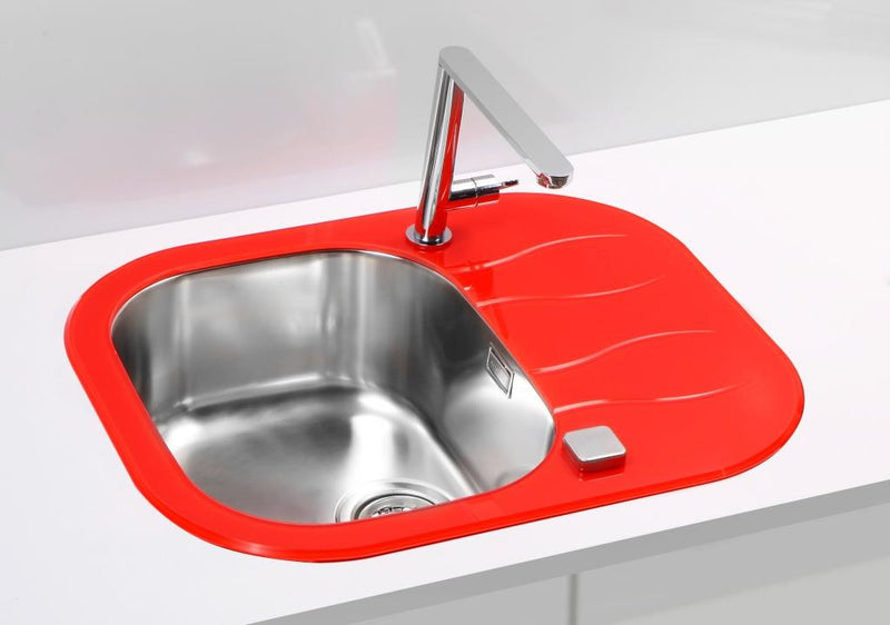 Glass kitchen sink, red colour