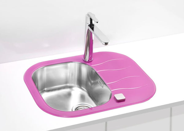 Glass kitchen sink, violet purple colour
