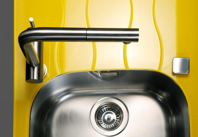 Glass kitchen sink, yellow colour