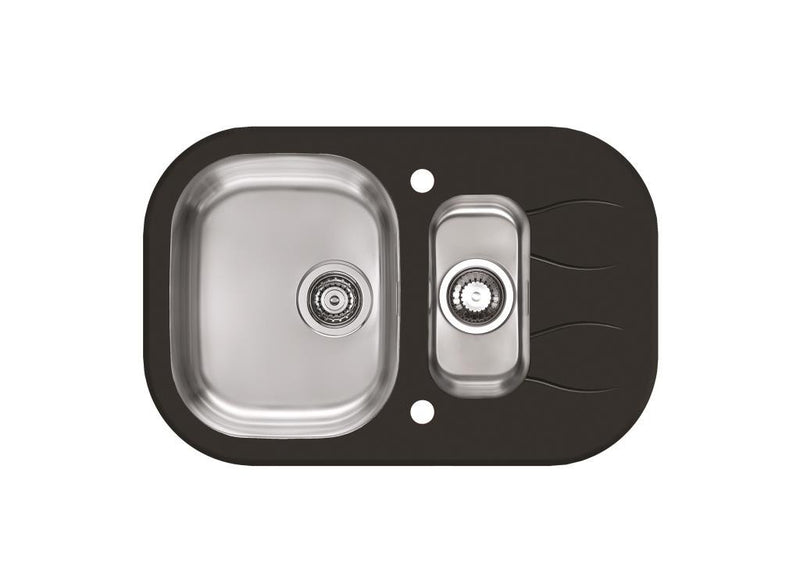Alveus Wave 30, inset sink, glass/ stainless steel, round