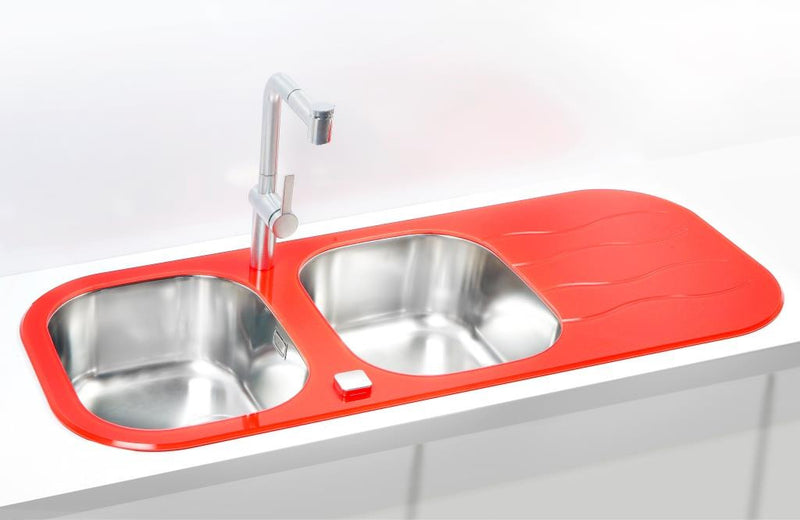 Alveus Wave 40, inset sink, glass/ stainless steel, round
