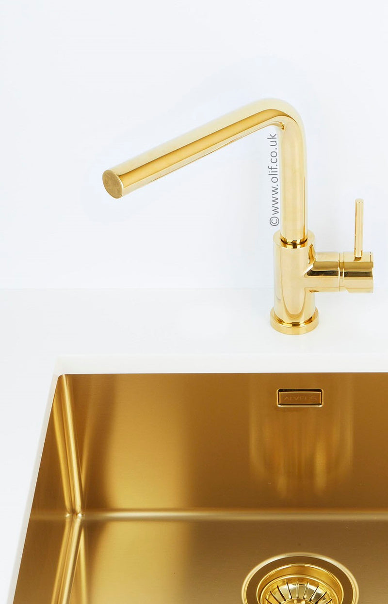 Pack of Alveus Monarch Quadrix 30 Gold sink and matching Gold tap