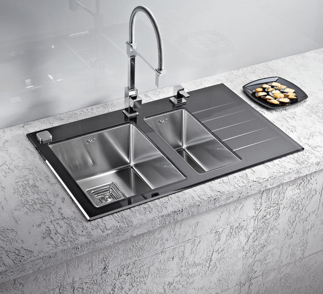 black glass kitchen sinks alveus crystalix 20 inset sink glass stainless steel olif 4676