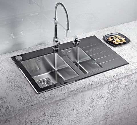 Alveus Crystalix 20, inset sink, glass/ stainless steel