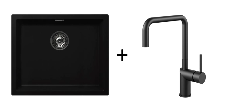 Pack of Nivito RH 320 tap & Nivito sink, Matte Black finish
