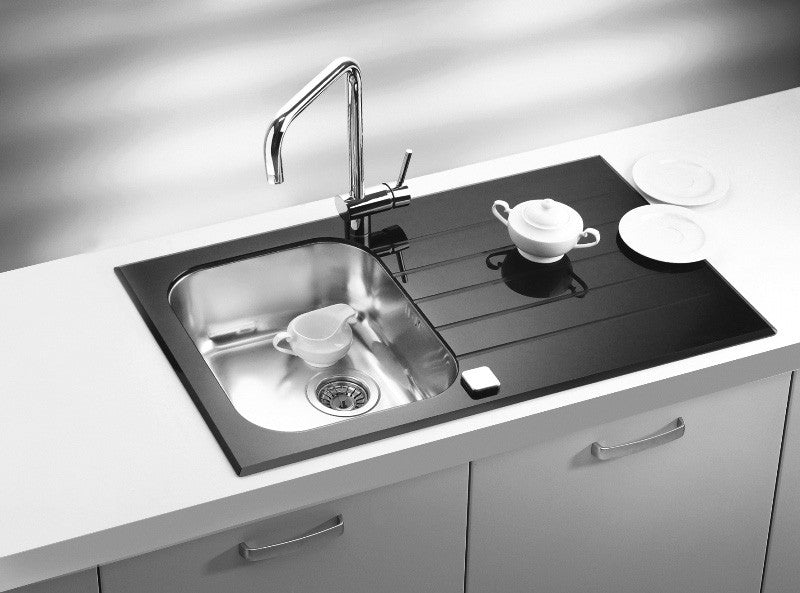 Glass kitchen sinks black white custom colours olif alveus glassix 10 inset sink glass stainless steel workwithnaturefo