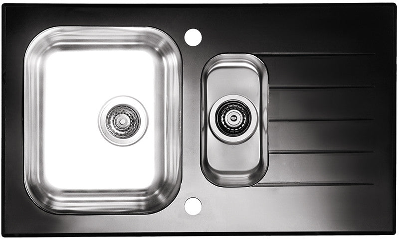 Alveus Glassix 20, inset sink, glass/ stainless steel