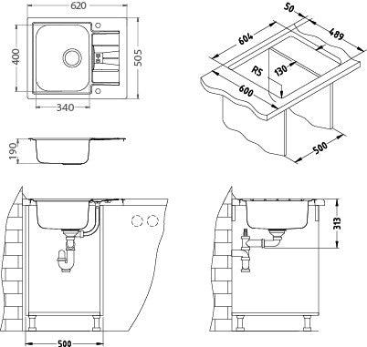 Alveus Line Maxim 60, flush or flat-mount sink
