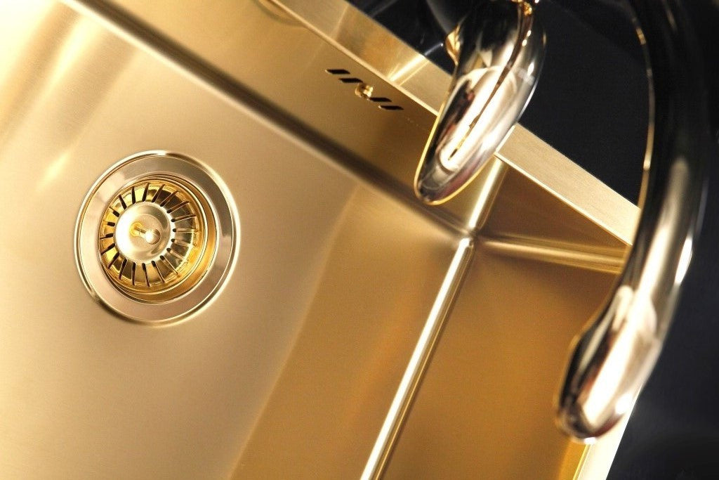 Undermount Kitchen Sink In Stainless Steel Material Gold Finish