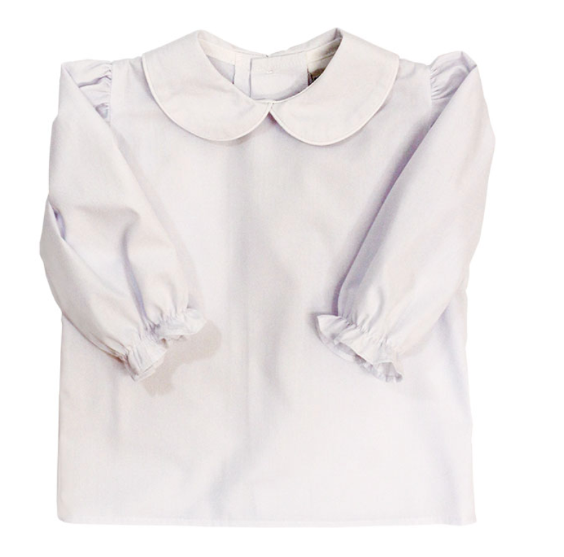 Girls White Button-Back Blouse