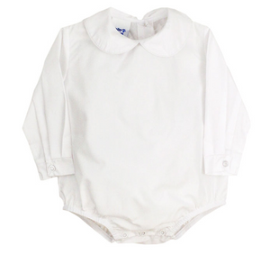 Boys White Button Back Onesie