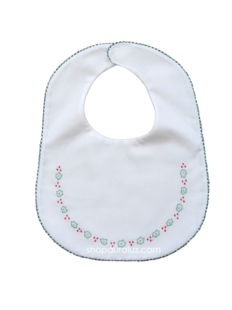 White/Green Holly Bib