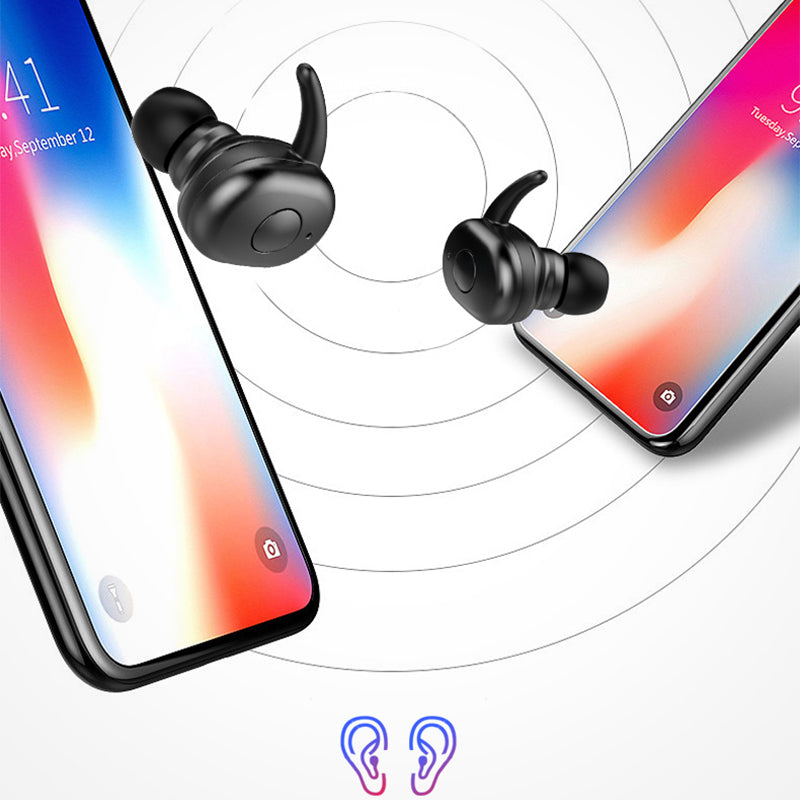 The sound connection with two black wireless bluetooth earbuds connecting to iPhone and Android mobile phones