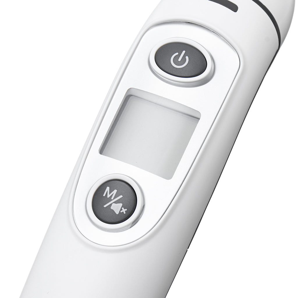 Close up view of  digital screen and buttons which operate the ear and forehead infrared thermometer