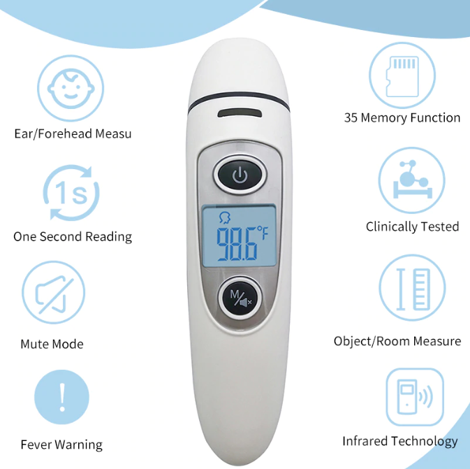 Dr. Good™ Ear and Forehead Medical Thermometer for Baby, Child and Adult, with Fever Alarm, Digital Infrared 5-in-1