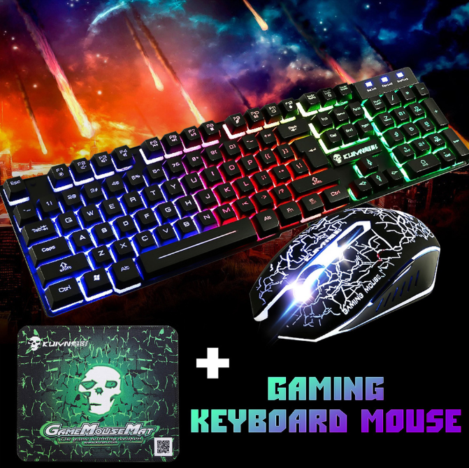 Gaming Keyboard, 2400DPI Mouse and Mousepad Combo with Waterproof Colorful LED Backlit USB Wired Keyboard for Windows